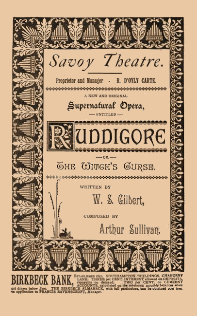 Original Ruddigore programme